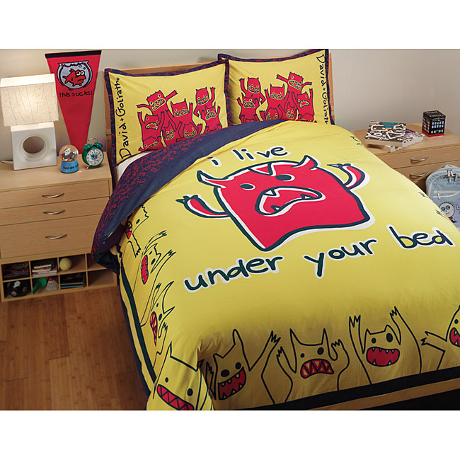 David and Goliath Monsters Queen-size 3-piece Duvet Cover Set
