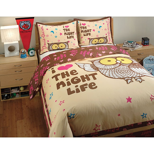 David and Goliath Night Life Queen-size 3-piece Duvet Cover Set