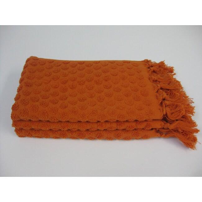 all over dot burnt orange cotton finger tip towels set of