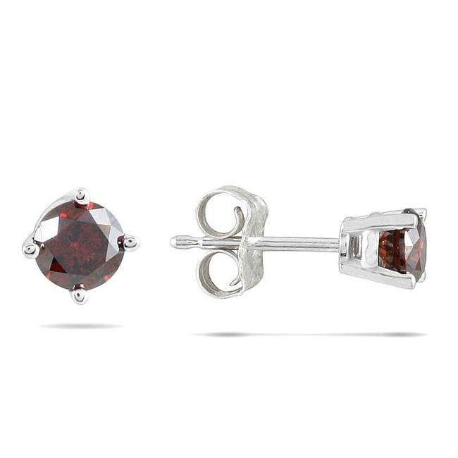 14k White Gold 1/2ct TDW Red Diamond Earrings