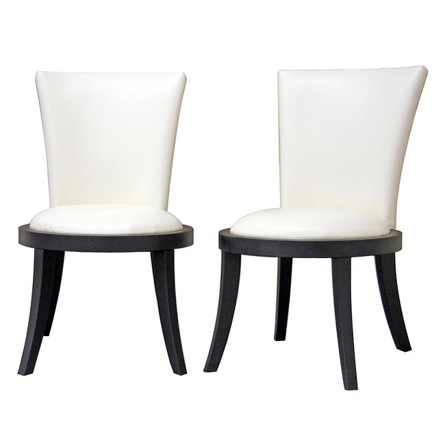 Neptune off white leather modern dining chair set of 2 for White leather dining chairs modern