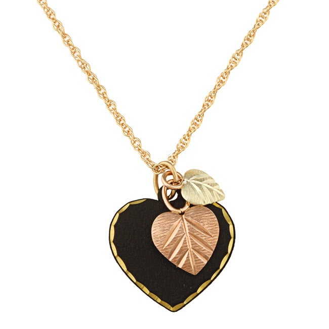 Black Hills Gold Black Powder-coated Brass Heart Necklace