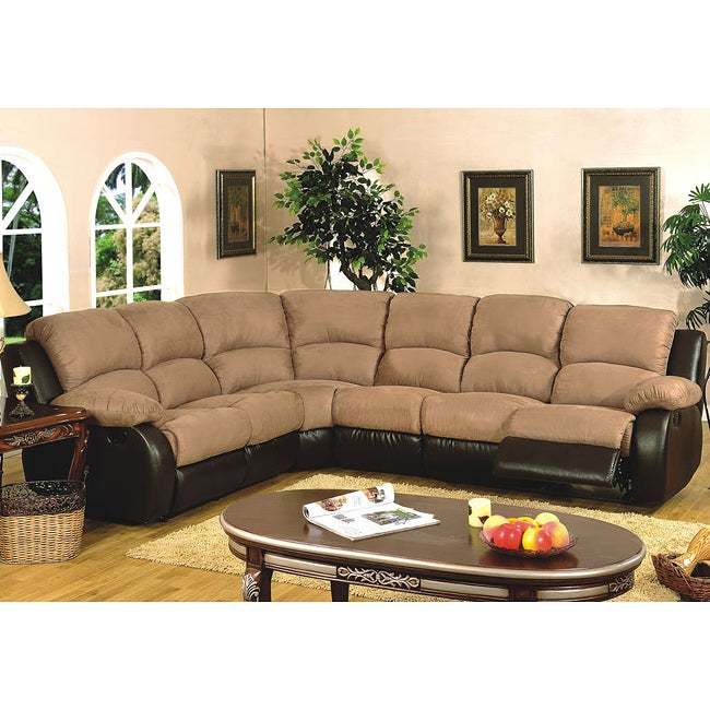 Light Brown 4-piece Microfiber Reclining Sectional Sofa