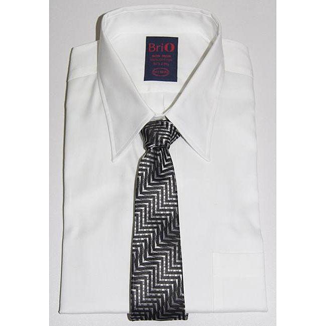 Brio Men's Cotton Dress Shirt and Tie Set