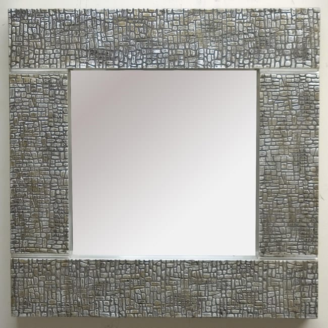 Square Silver Cobblestone Contemporary Mirror