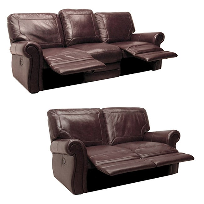 Winchester burgundy italian leather reclining sofa and loveseat 13641995 Burgundy leather loveseat