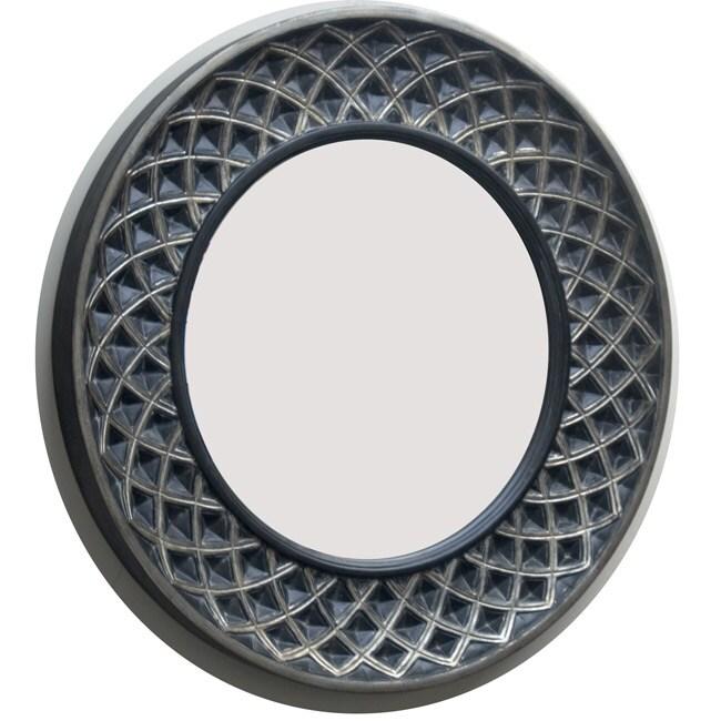 Round Rustic Silver-black Mirror
