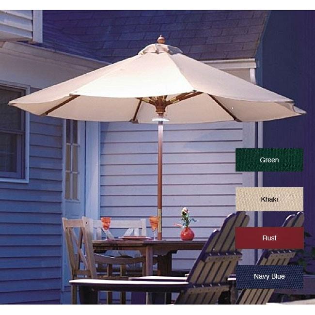 LED Lighted Hardwood Patio Umbrella