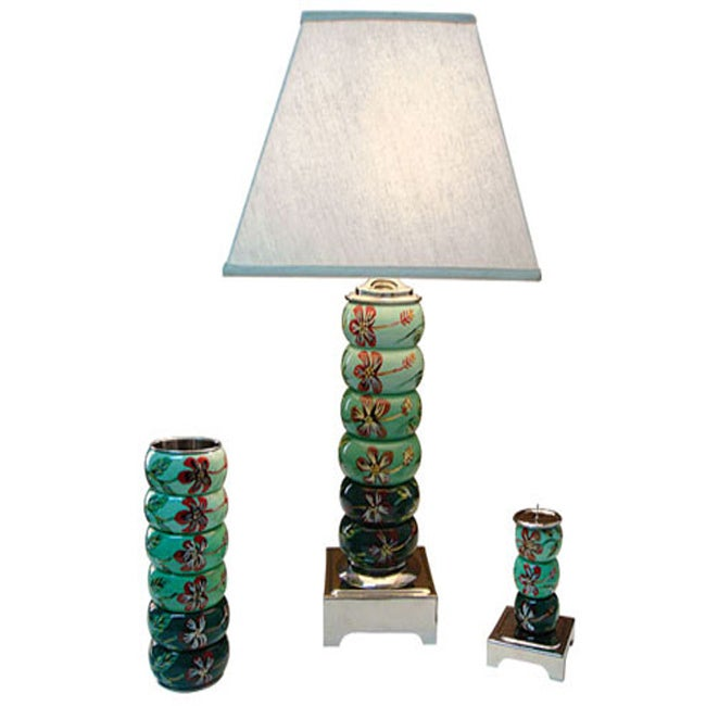 Green Melody Wood Bangle1-light Table Lamp, Vase and Candle Holder Set