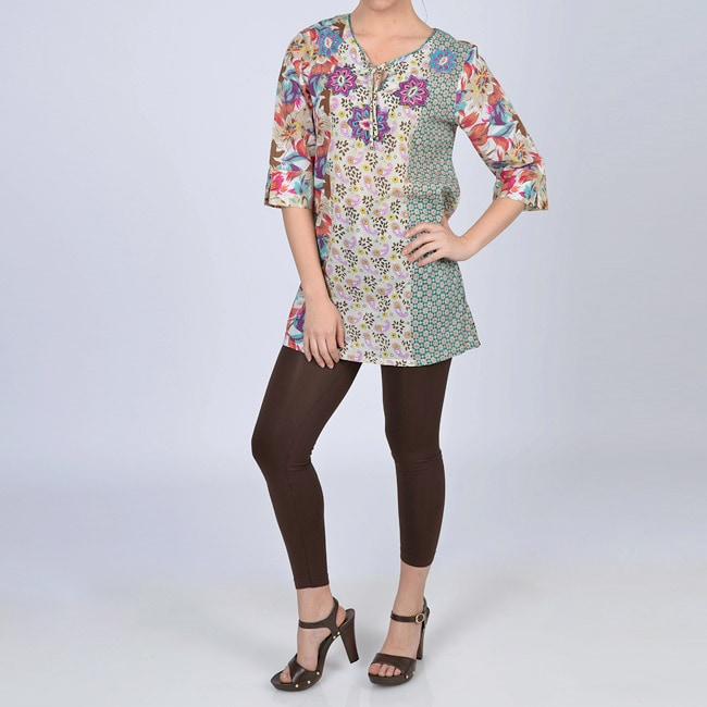 La Cera Women's Beaded Floral V-neck Elbow-sleeve Tunic Top