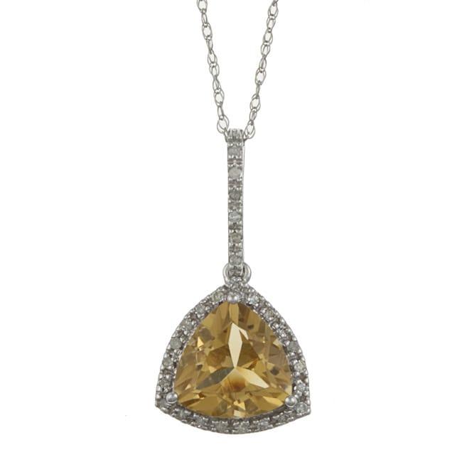 Viducci 10k Gold Citrine and 1/10ct TDW Diamond Necklace (G-H, I1-I2)