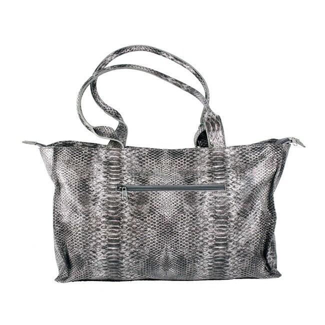 Treska Grey Faux Snakeskin Tote Bag