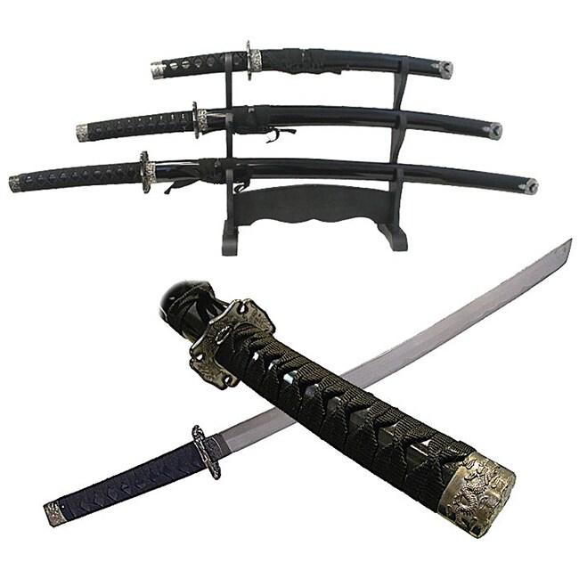 Charcoal Dragon 3-piece Katana Sword Set with Stand