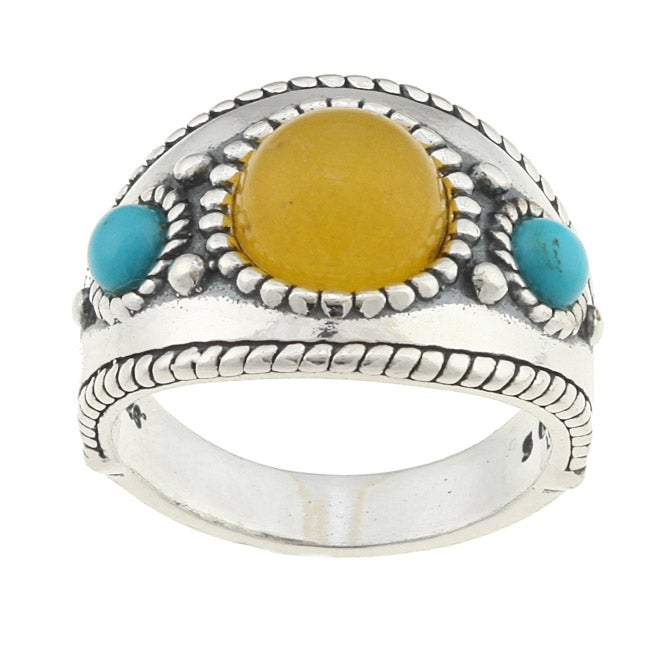 Southwest Moon Sterling Silver Yellow Jasper and Turquoise Ring