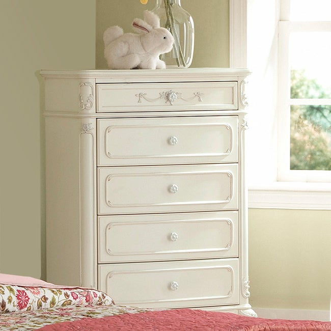 TRIBECCA HOME Fairytale Victorian Princess White 5-drawer Chest