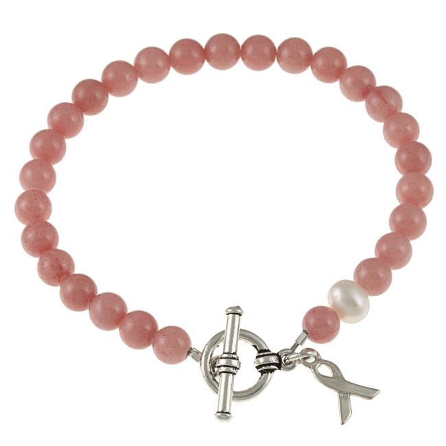 Charming Life Silvertone Jade and Pearl Breast Cancer Awareness Bracelet (8 mm)