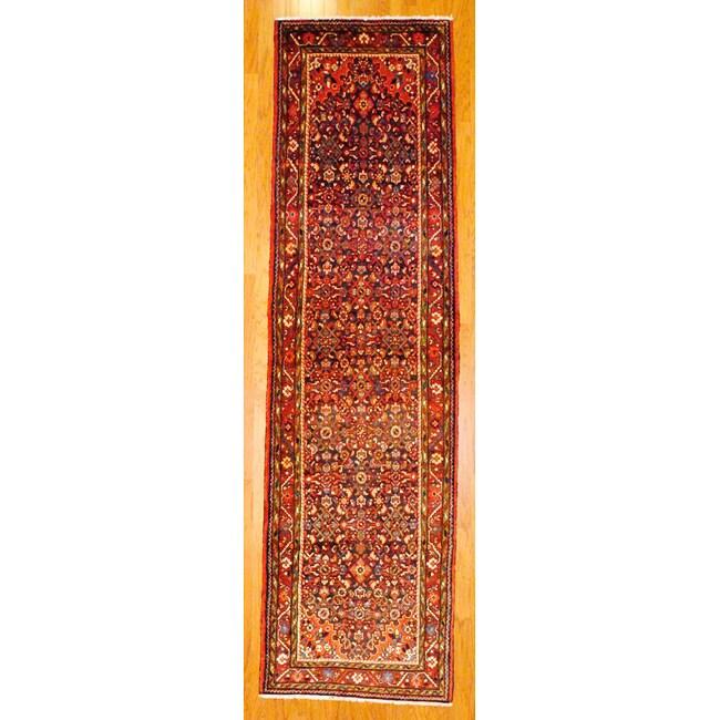 Persian Hand knotted Navy/ Rust Tribal Hamadan Wool Rug (36 x 129