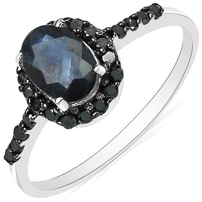Malaika 10k White Gold Blue Sapphire and 1/4ct TDW Black Diamond Ring