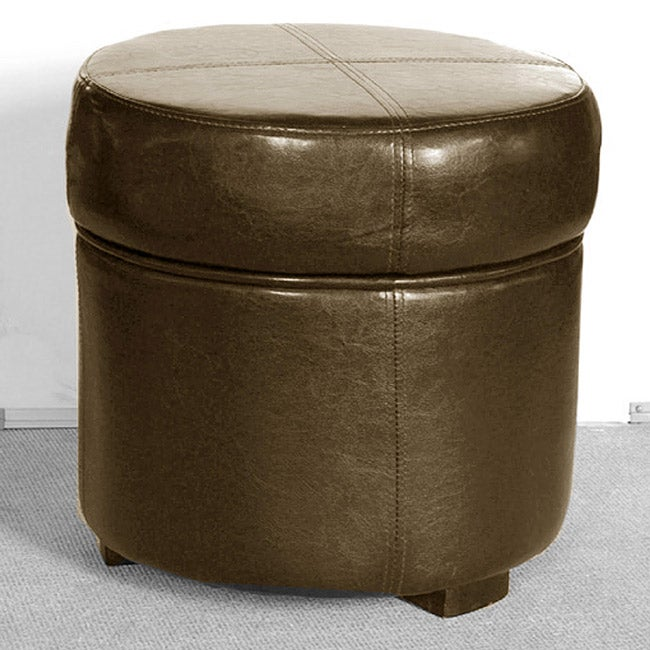 Dark Brown Leatherette Ottoman