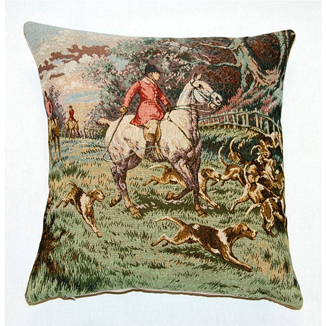 French Jacquard Woven Single Horseman Decorative Pillow