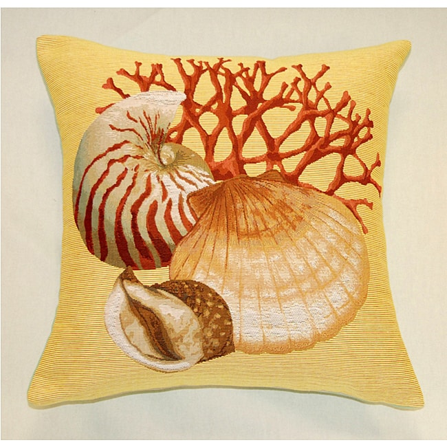 French Jacquard Woven Seashell Decorative Pillow