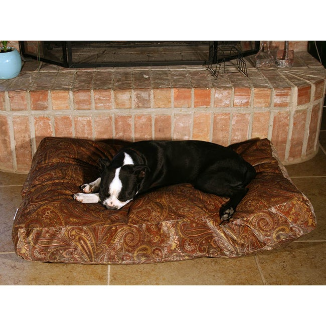 Green Paisley Dog Bed