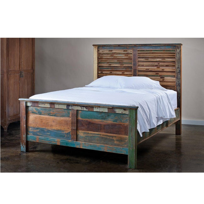 Reclaimed Wood Weathered Queen Bed India Overstock