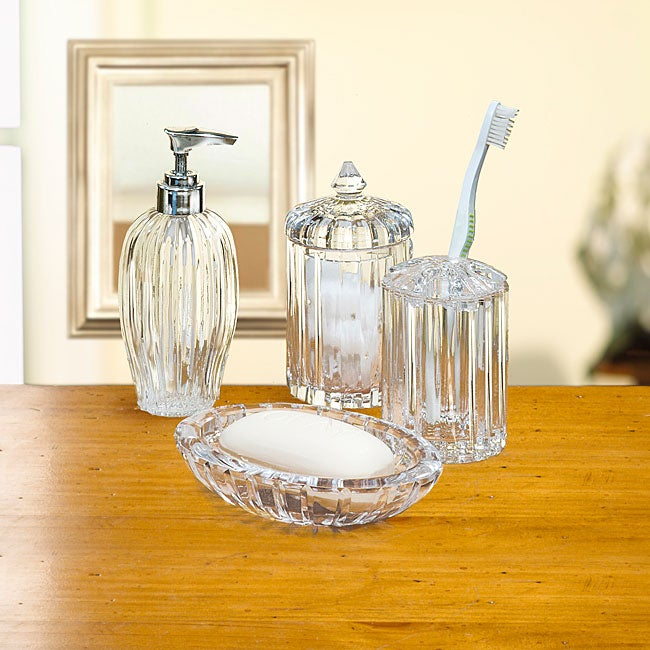 Crystal clear alexandria crystal bath accessory 4 piece for Clear bathroom accessories