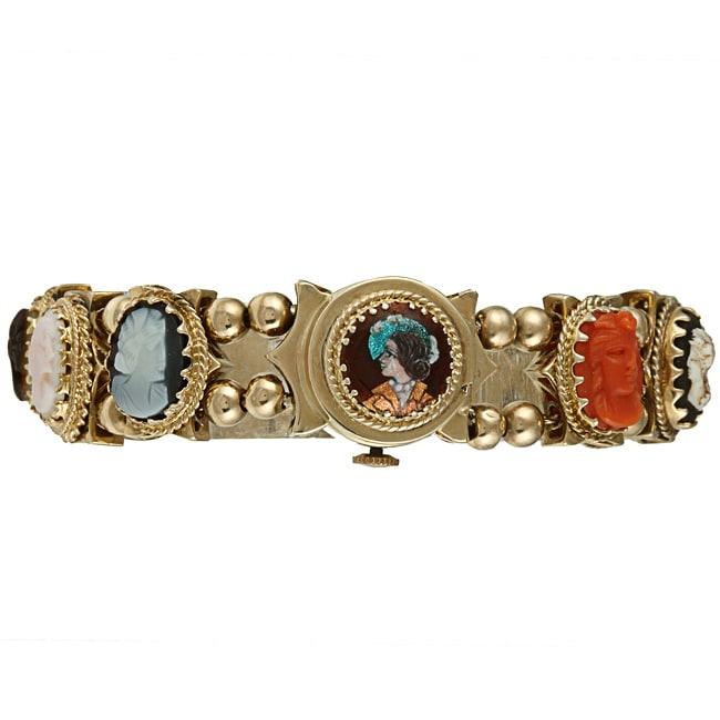 14k Yellow Gold Carved Cameo Antique Slide Bracelet