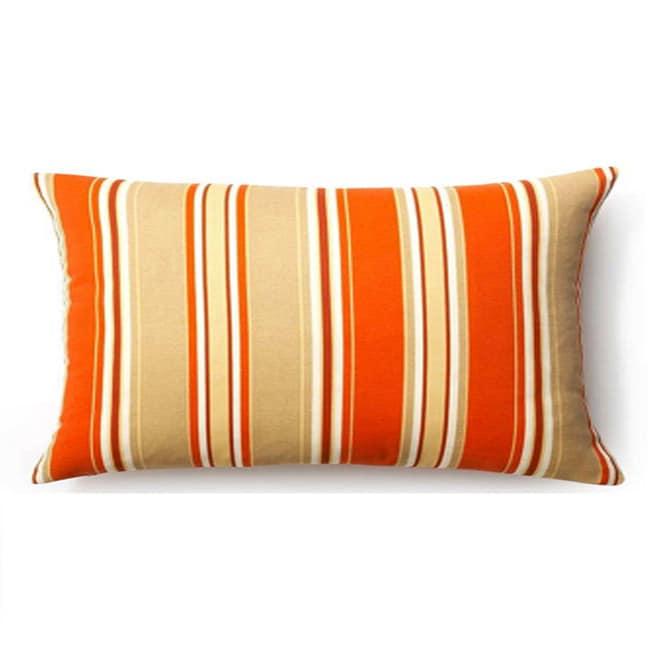 Orange Thick Stripes Outdoor Throw Pillow