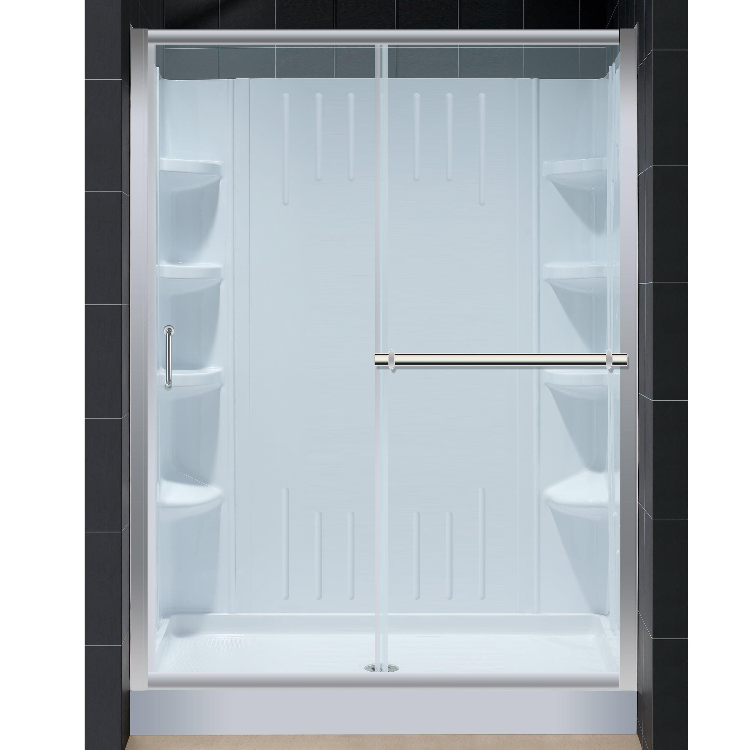 dreamline infinity plus 60x72 shower door amazon 32x60 shower base backwall overstock. Black Bedroom Furniture Sets. Home Design Ideas