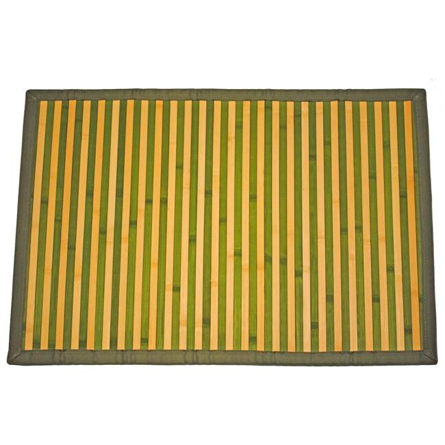 Asian Hand-woven Green/ Tan Stripe Bamboo Rug (2' x 3')