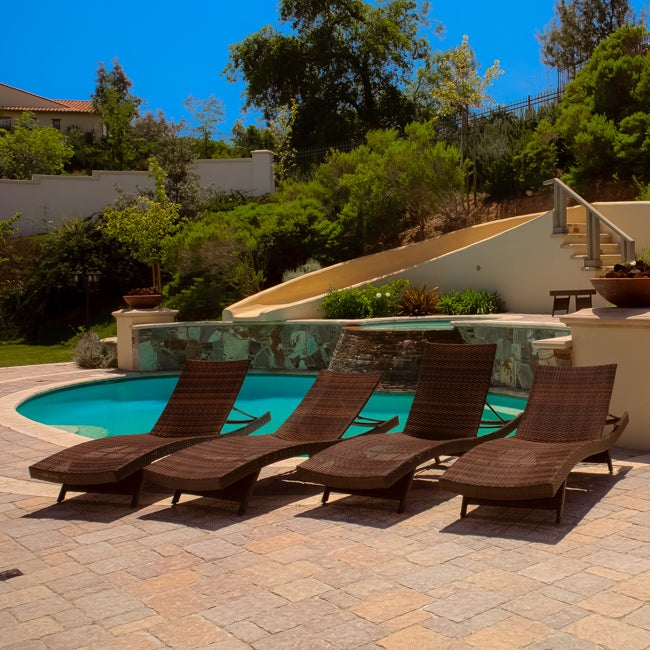 Brown Adjustable Outdoor Lounge Chairs