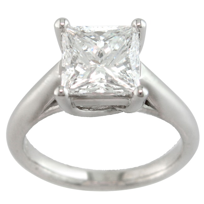 14k White Gold 3 1/10ct TDW Certified Clarity-enhanced Diamond Ring (I, SI2)