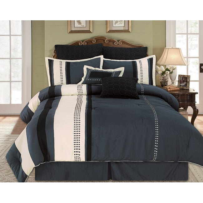 Aberdeen Grey 8-piece Queen-size Comforter Set