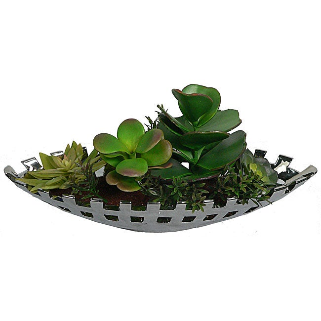 Laura Ashley Silver Ceramic Succulents Silk Plants