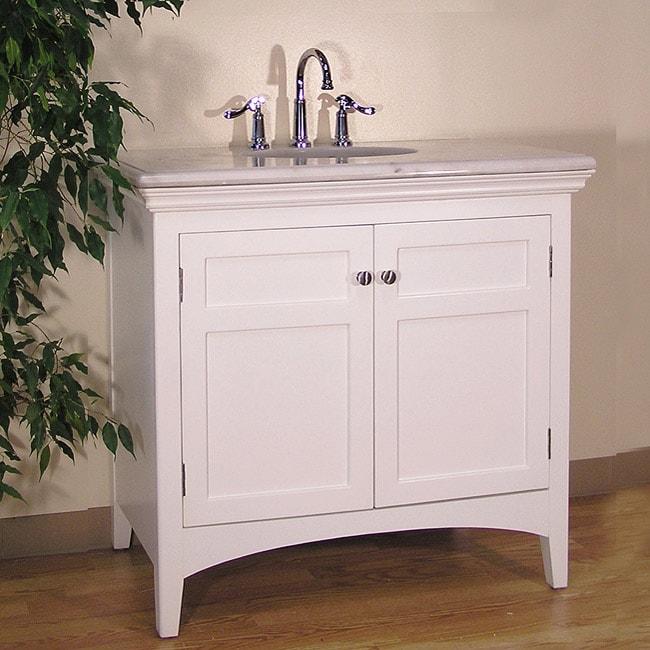 White Marble Top 38-inch Single-sink Bathroom Vanity