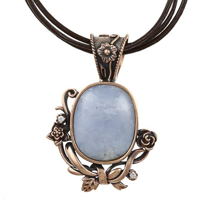 Southwest Moon Copper Blue Lace Agate Floral Necklace