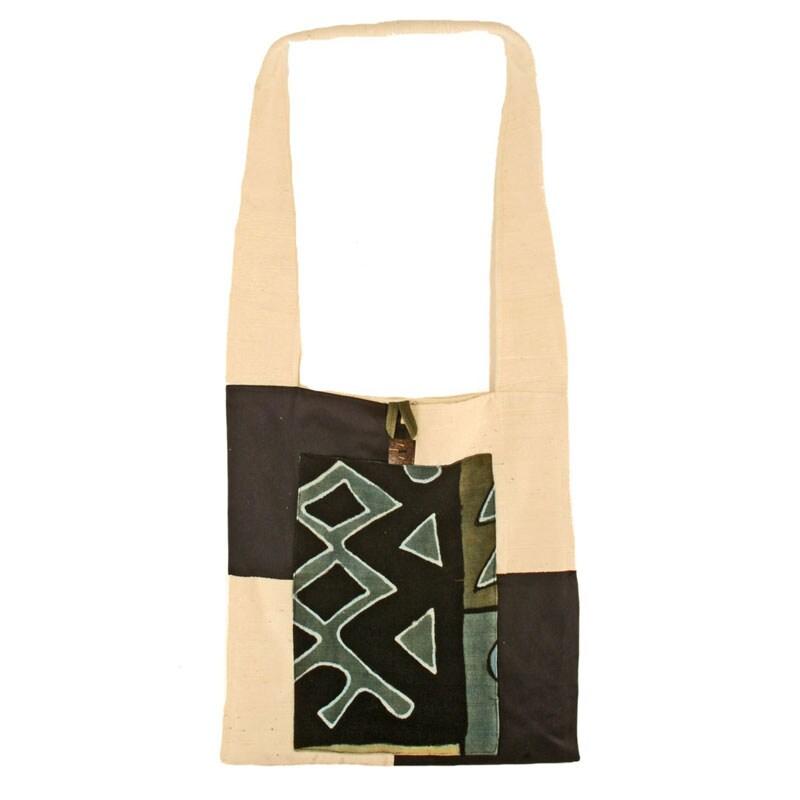 Cotton and Mudcloth Green Sling Bag (Mali)