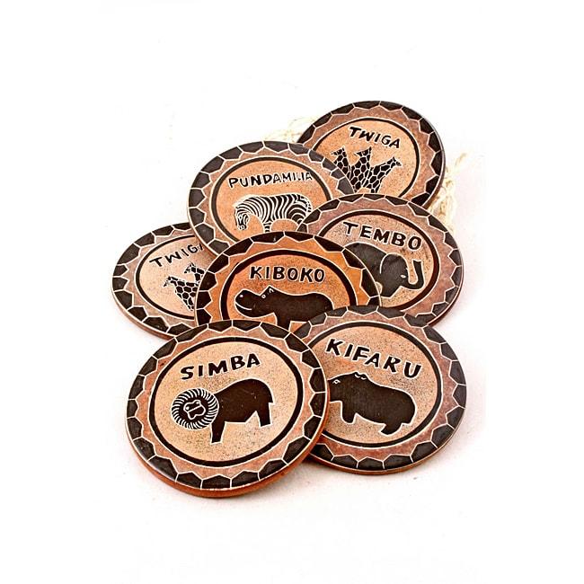 Set of 6 Soapstone Brown Safari Coasters (Kenya)