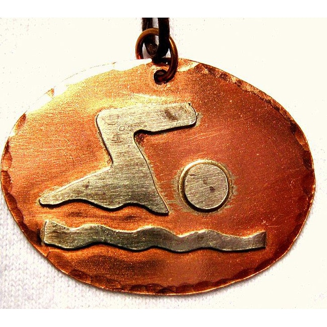My Three Metals Copper Silhouette of a Swimmer Necklace