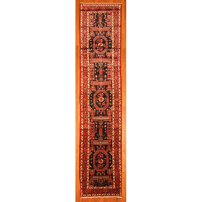 Persian Hand knotted Charcoal/ Red Hamadan Wool Rug (37 x 156