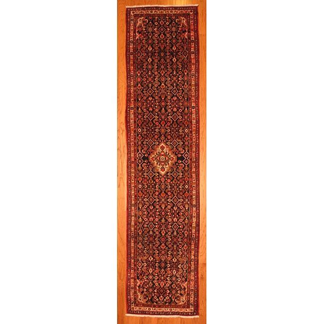 Persian Hand-knotted Navy/ Beige Hamadan Wool Rug (3'3 x 13'6)