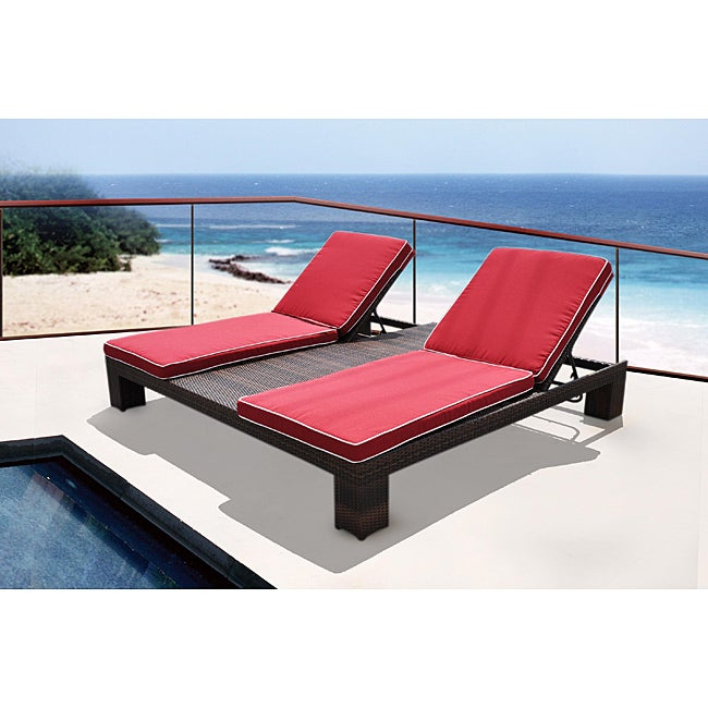 Boca Raton All-weather Resin Wicker Espresso Double Chaise Lounge