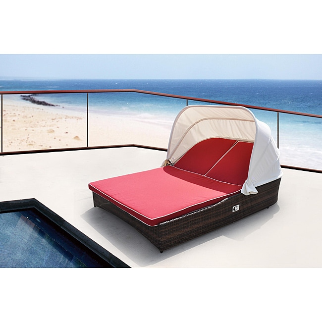 Sarasota All-weather Resin Wicker Espresso Shaded Double Chaise Lounge