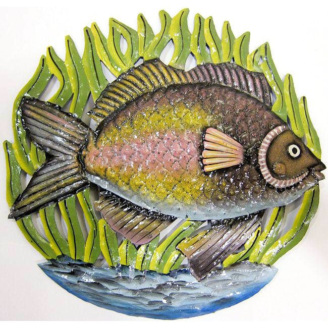 Recycled Steel Drum Fish in Sea Grass Wall Art (Haiti)