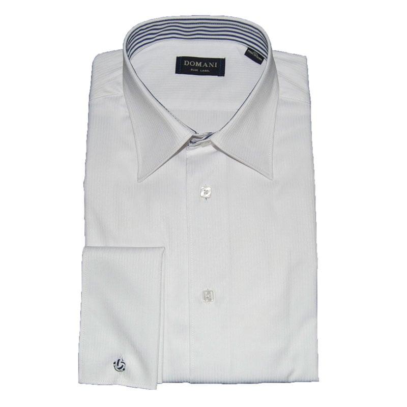 Domani Blue Label Mens White French Cuff Dress Shirt