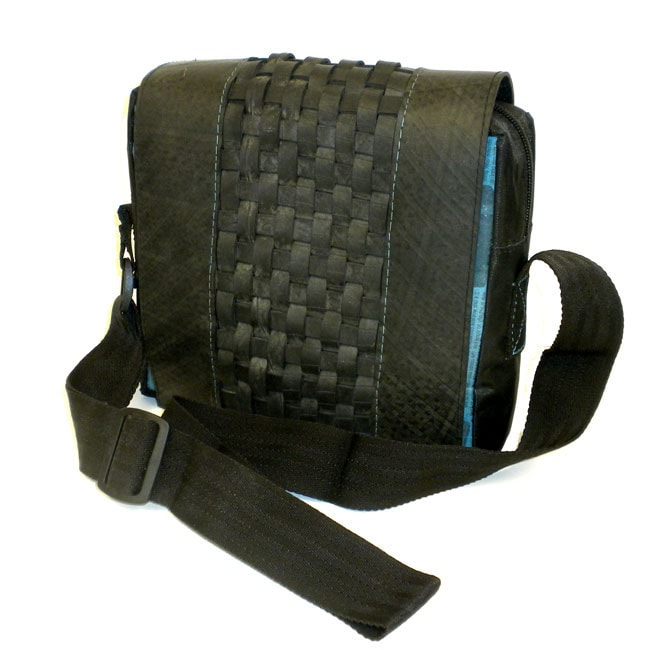 Recycled Woven Tire and Plastic Black Messenger Bag (India