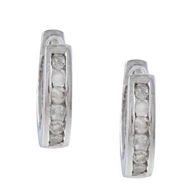 10k White Gold 1/4ct TDW Diamond Hoop Earrings (G-H, I1-I2)