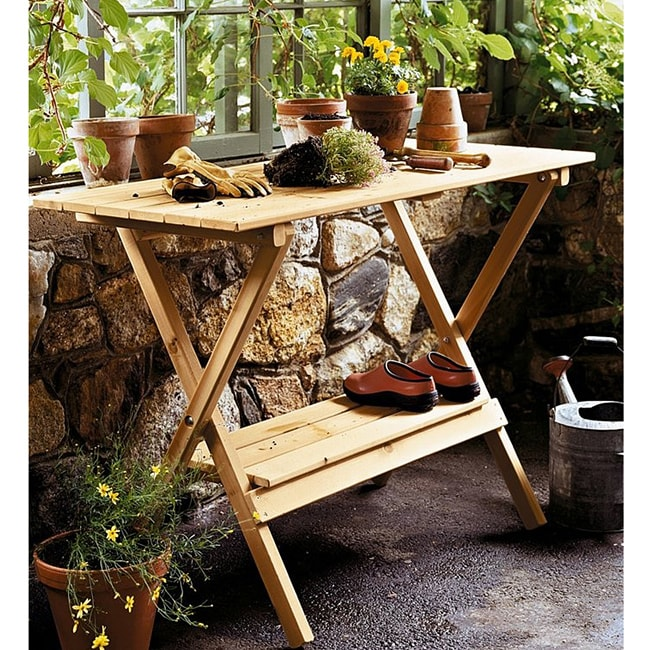 Wood Console Table Potting Bench